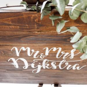 houten gastenboek bord groot