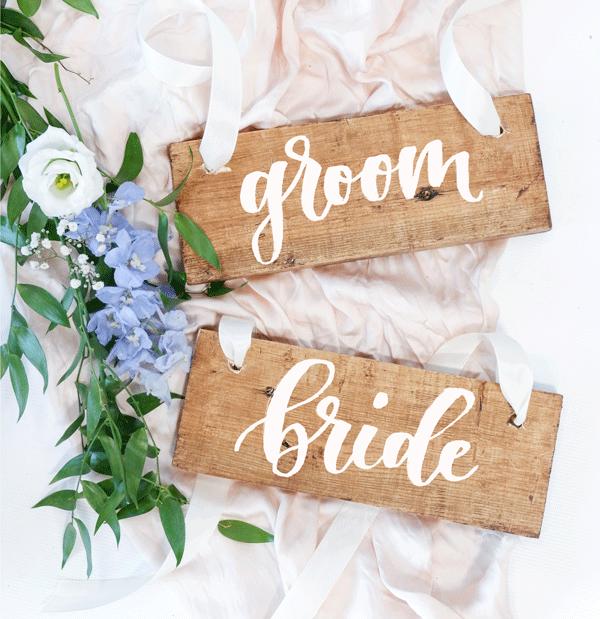 Houten Stoelhangers Groom/Bride