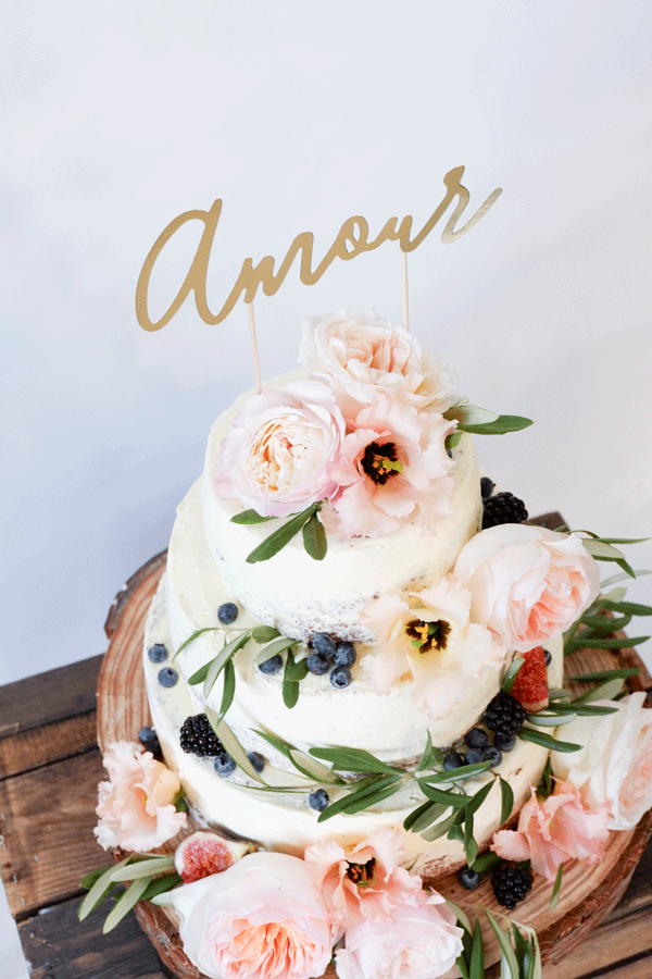 gouden cake topper amour 02
