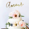 gouden cake topper amour