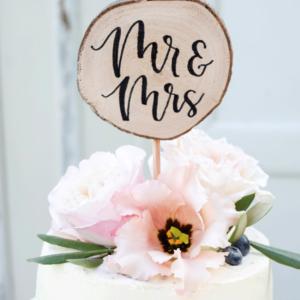 houten cake topper mrs & mr