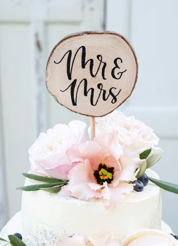 houten cake topper mrs & mr