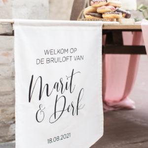 bruiloft welkomstvlag vaantje
